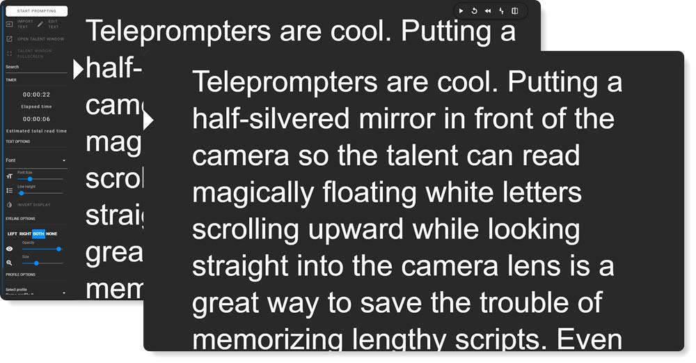PromptDog operator and talent windows